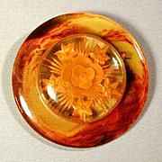 Big Bakelite Applejuice Reverse-Carved Pin Brooch - Book Piece