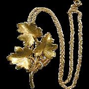 HOBE 12K Gold-Filled Leafy Pin Brooch w/ Pendant Chain
