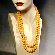 1950s Double Strand SUGAR BEADS Necklace - Vintage Japan