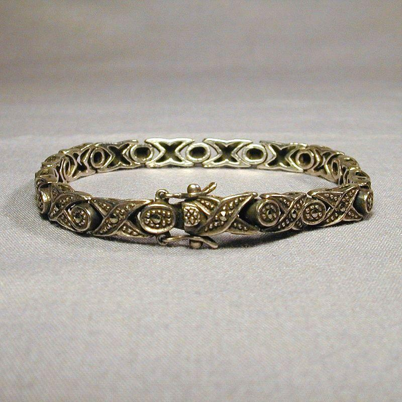 Designer Sleek Sterling Silver w/ Marcasite Bracelet