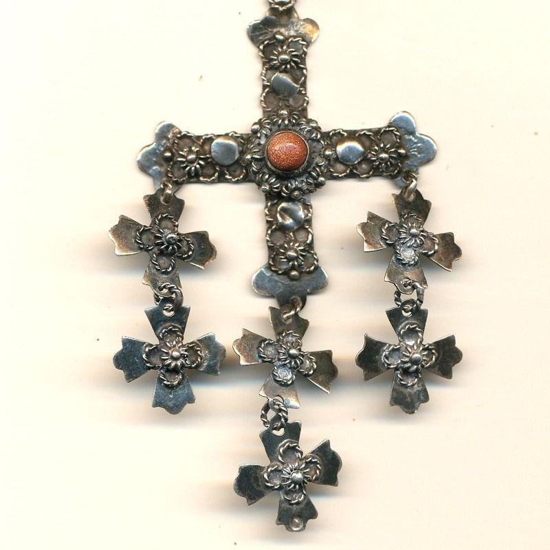 Old YALALAG Mexican Wedding 7 Cross Pendant Sterling Silver Necklace