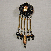 Italian Black Glass & Fool's Gold Dangles Pin Brooch