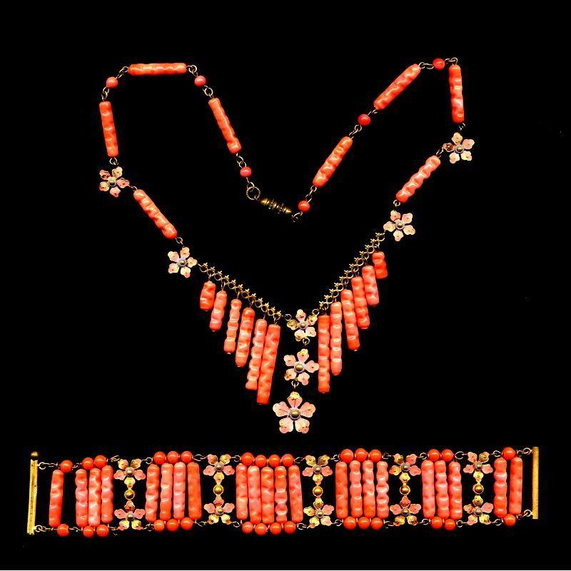 Fabulous c1930 CZECH Necklace Bracelet Set - Glass Enamel & Gilt
