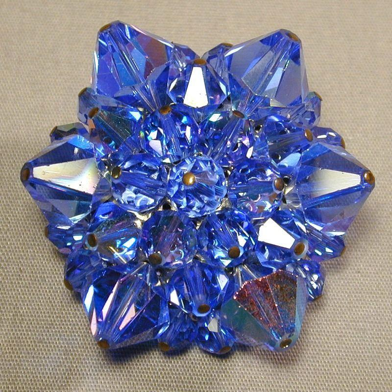 Super Blue Aurora Borealis Crystal Pin Brooch - Super Sparkle