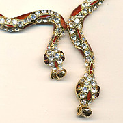Two-Headed Snake Crystal Rhinestone Enamel Necklace
