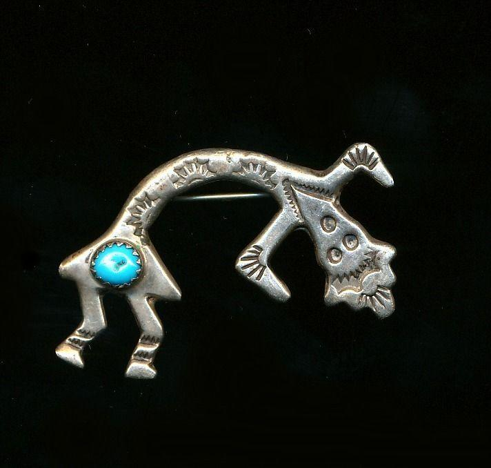 Vintage Navajo Sterling Silver Crooked Man Dancer Pin / Pendant w/ Turquoise