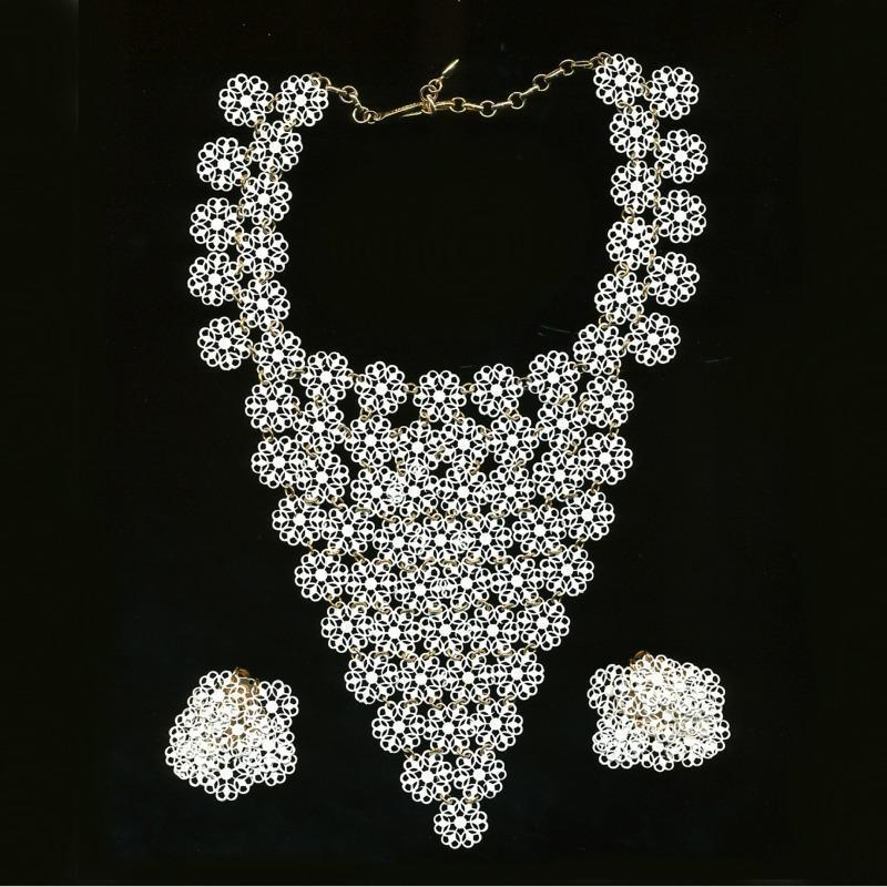 Big Lacy VENDOME Enameled White Bib Necklace w/ Earrings