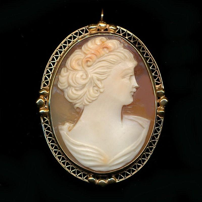 Art Deco Era 14K Carved Cameo Pin Pendant - She's Lovely