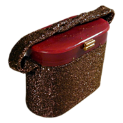 Vintage 1940s Lucite & Glass Beaded Box Handbag Bronze