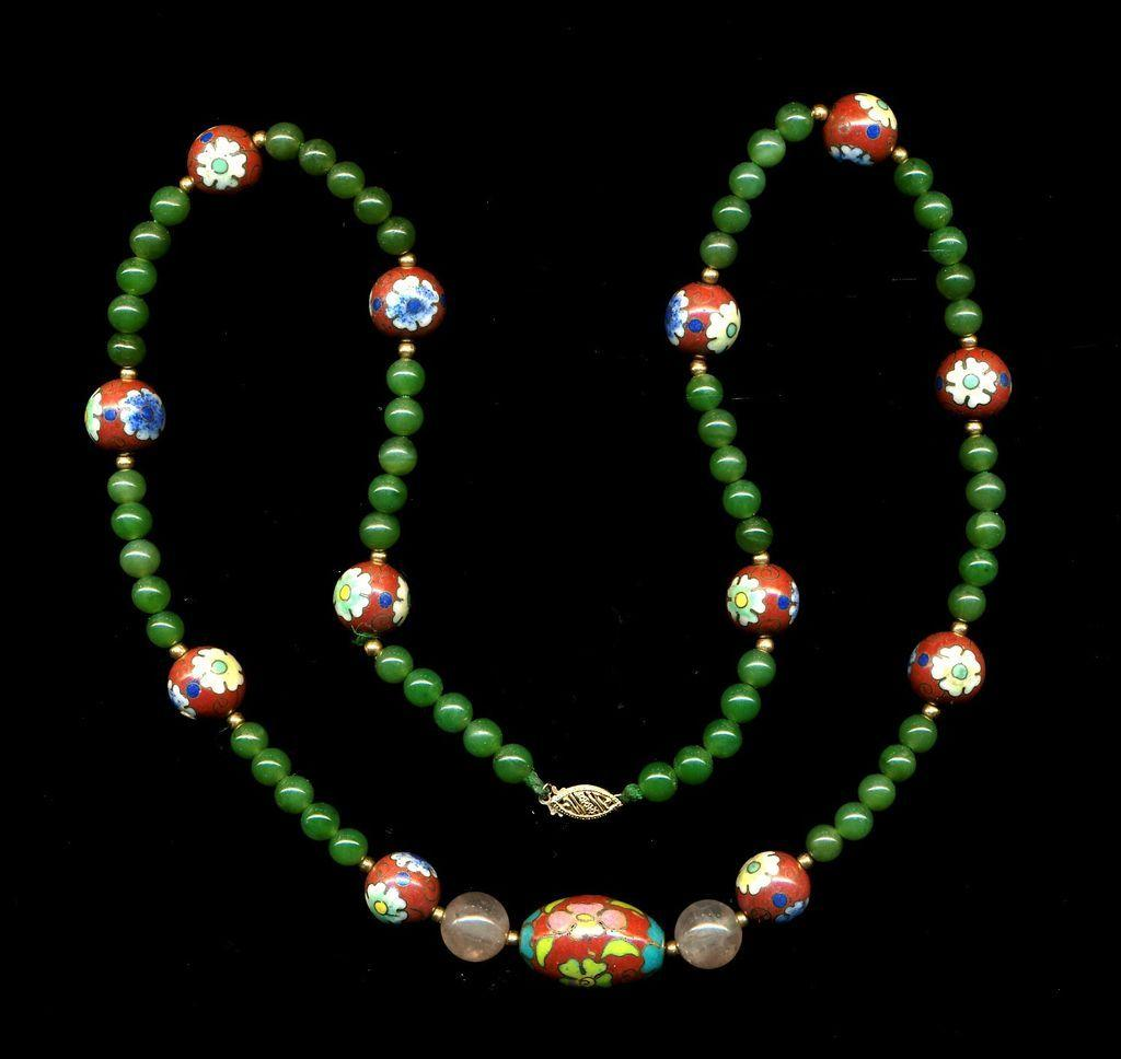 Estate Chinese Necklace - Jade & Enamel Cloisonne Beads w/ 14K Gold