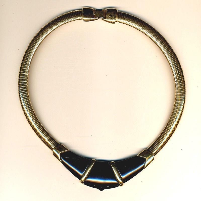 1970s Sleek Sophisticated Signed Necklace MONET Lucite & Goldtone