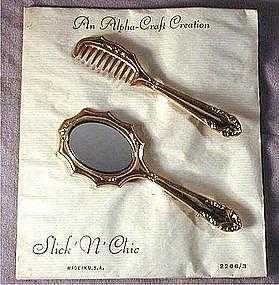 Vintage 1940s COMB & MIRROR Novelty Pin Set on Orig. Card