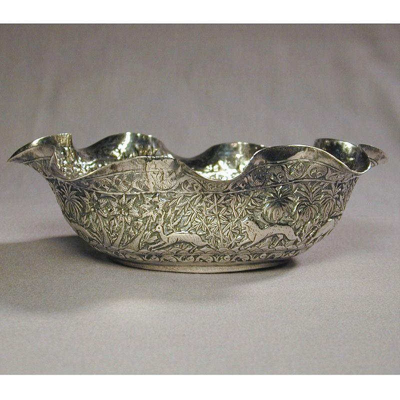 Ornate Old Hand-Hammered Sterling Silver Persian Bowl
