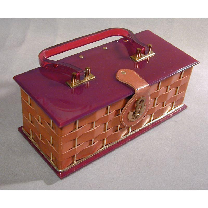 Rare 1950s Dorset Rex LEATHER and Lucite Box Purse Handbag
