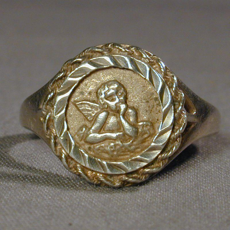 Vintage Sterling Silver Ring w/ Angel