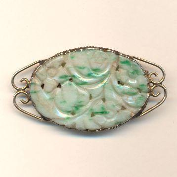 Old Chinese c1920s Natural Jade in Sterling Silver Pin