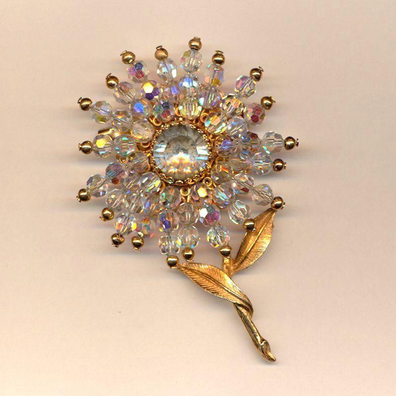 Vintage Austrian Crystal Blazing Flower Pin Brooch