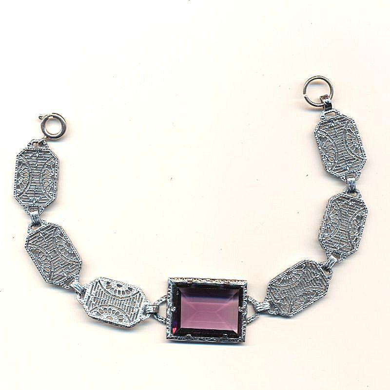Art Deco 1930s Rhodium Filigree Bracelet w/ Big Amethyst Glass