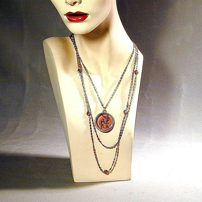 GOLDETTE Reverse Cut Intaglio Glass Pendant w/ Multi Chain Necklace