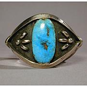 Unique Old BOWTIE Navajo Sterling & Turquoise Bracelet Sandcast