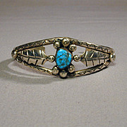 'Just Right' Navajo Sterling Silver & Turquoise Cuff Bracelet