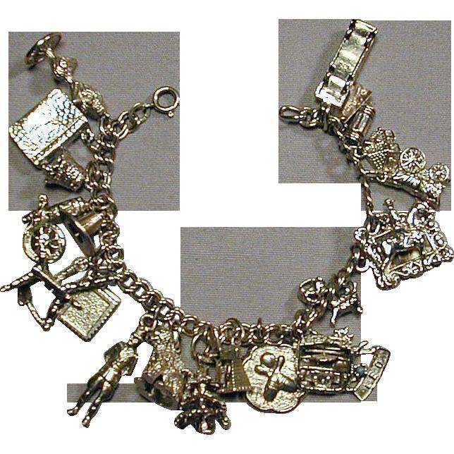Vintage 1950s Sterling Silver Charm Bracelet 21 Charms