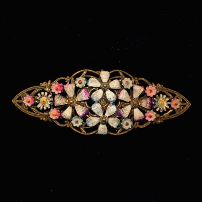 Victorian Stamped Brass Flower Pin w/ Enameled Flowers