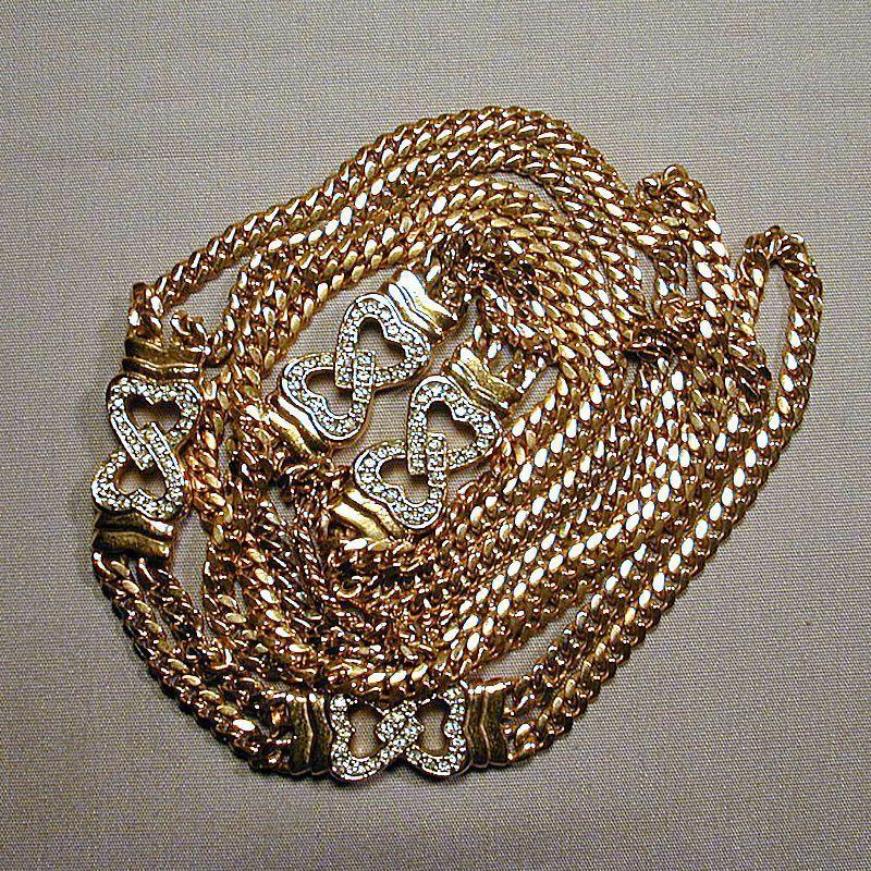 Long Luxe Lavish Gold-Tone & Faux Diamond Necklace Chain