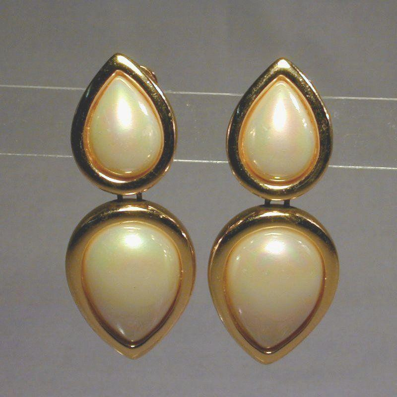 Vintage Christian CHR. DIOR Bold Big Faux Pearl Earrings