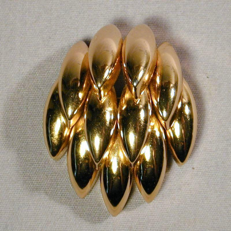 Vintage 1967 CHR. DIOR Germany Overlapping Gold-Tone Pin Brooch