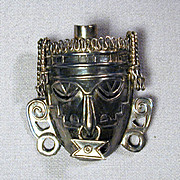 Vintage Mexican Sterling Silver Aztec Face Pin Pendant
