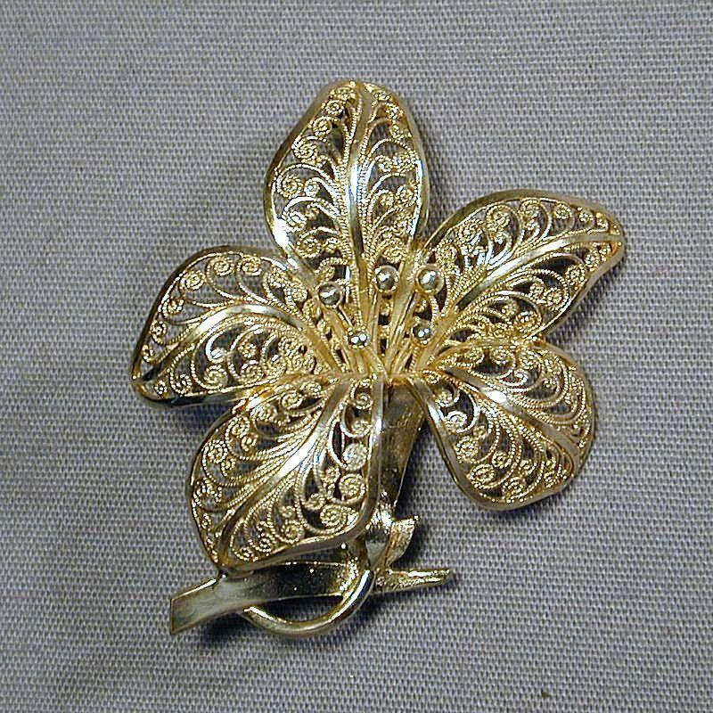 1950s Sterling Silver Filigree Flower Pin from Germany