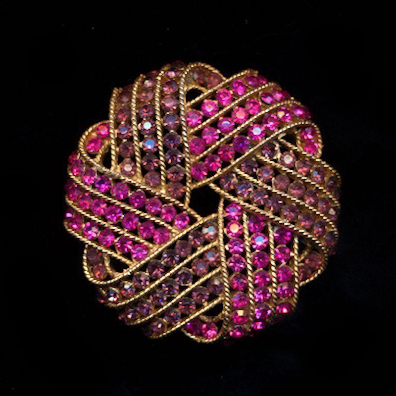 Crown Trifari Pink & Purple Rhinestone Pin Brooch