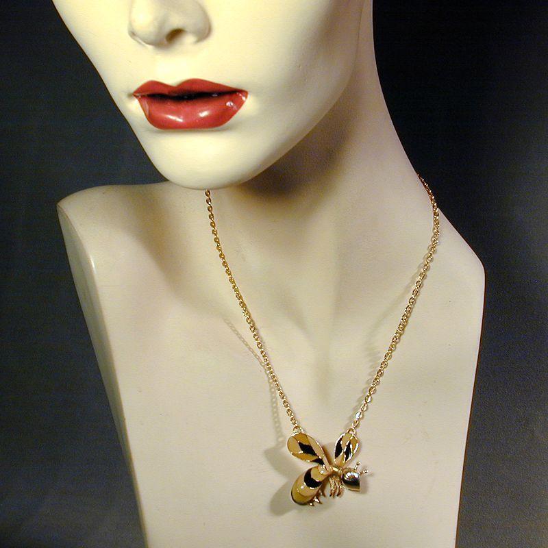 Vintage HOBE Bee Pendant Necklace - Enameled