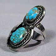 Vintage Navajo Double Decker Turquoise Sterling Silver Ring