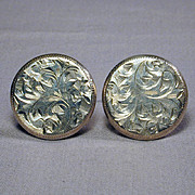 Handsome Sterling Silver Cufflinks - Very Etched Very Nice