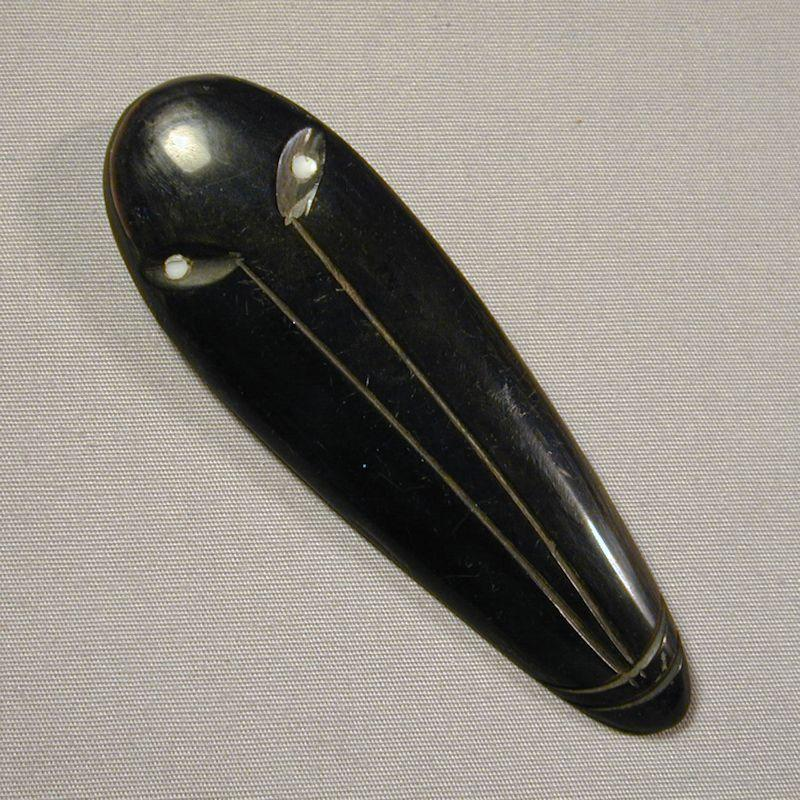 Modernist Black Horn Ethnic Etched Face Mask Pin Brooch