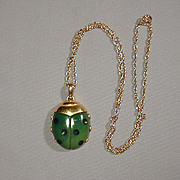 Crown Trifari Lucite Lady Bug Pendant Necklace 1960s