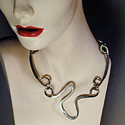 Modernist Stainless Steel Space Age Necklace