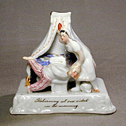 19th C. Victorian China Fairing Antique Fair Prize - Spanking - Naughty