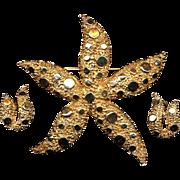 Vintage CORO Big Starfish Pin Brooch w/ Matching Earrings