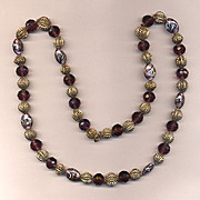 Vintage Italian Beads - Amethyst, Filigree & Art Glass Necklace