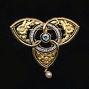 French Art Nouveau 18K Gold & Diamond Brooch / Pendant Pin