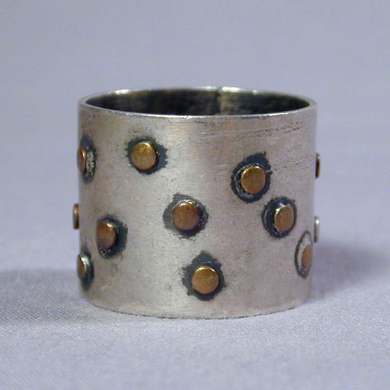 Modernist Very Wide Sterling Silver Ring w/ Dots