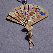Vintage Miniature Etched FAN Pendant Necklace Opens Up