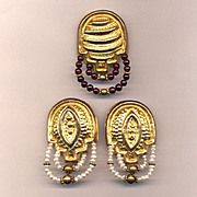 Vintage Estate Set Sterling Vermeil Earrings & Pin Brooch Pearls Garnets