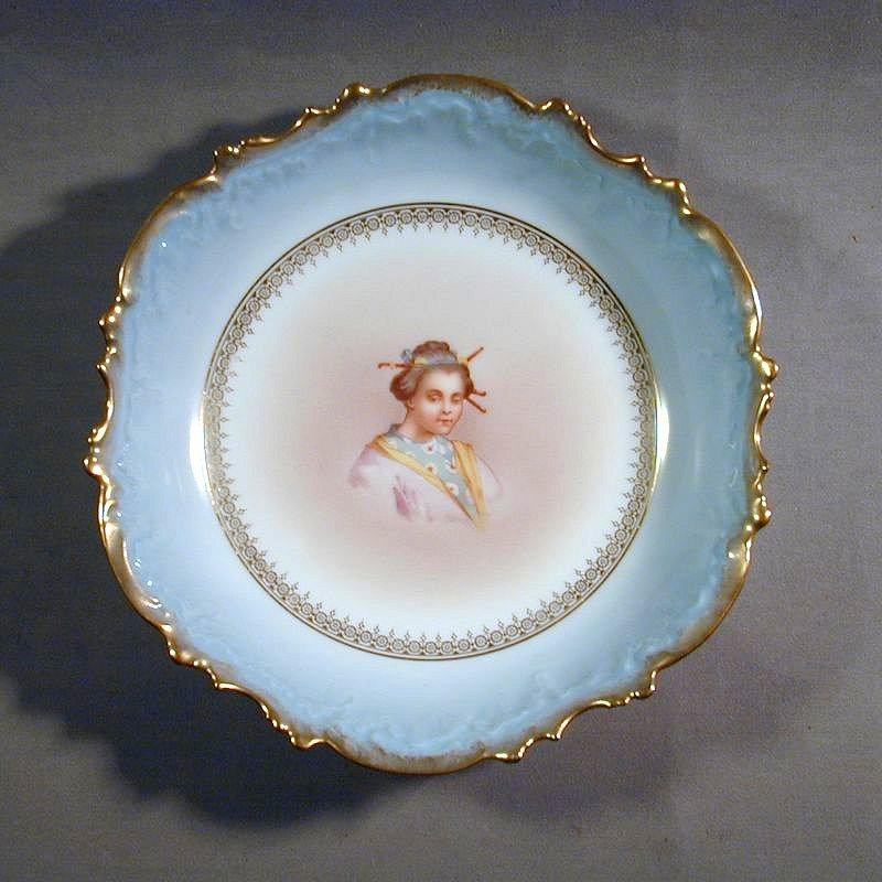 c1900 LIMOGES L.S.&S Hand-Painted Porcelain Bowl - Sleepy Asian Girl
