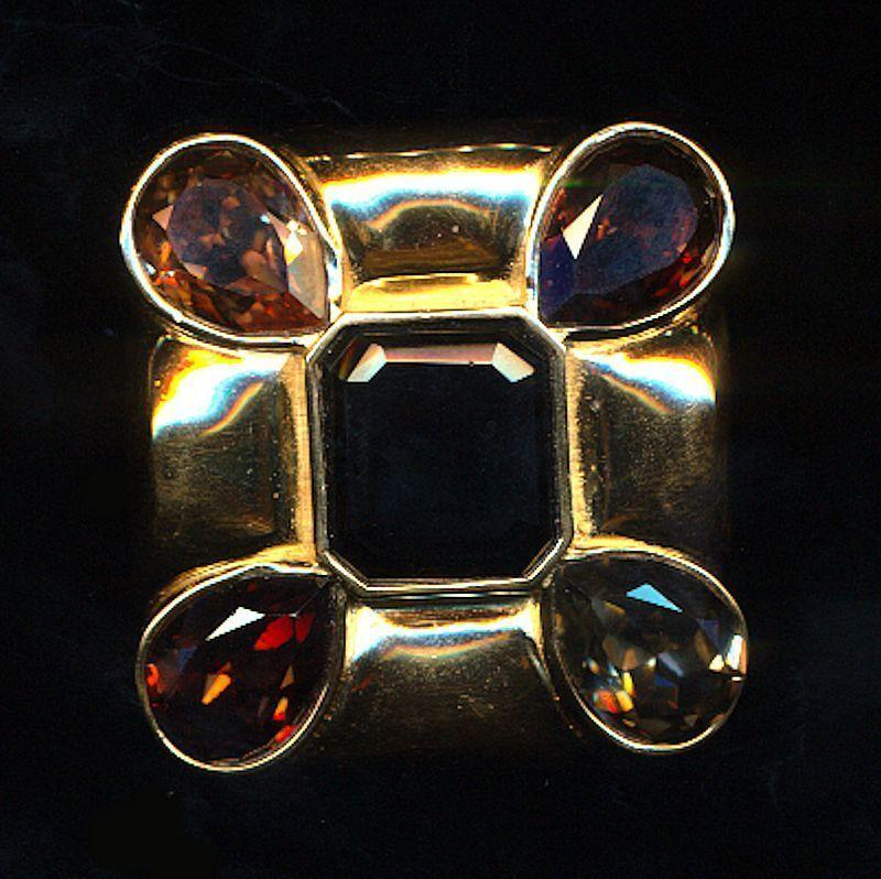 Vintage CINER Gold-Tone Square Pin Pendant Mega Jewels