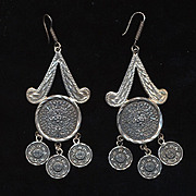 Long Luxe Mexican Aztec Mayan Earrings Sterling Silver