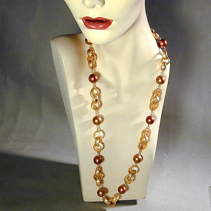 Vintage Napier Gold  Bronze Copper Tone Necklace